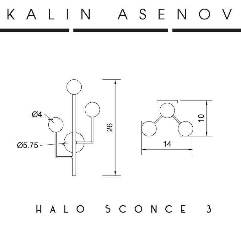 Halo Sconce 3, Brass, Hand Blown Glass Contemporary Wall Sconce, Kalin Asenov For Sale 7