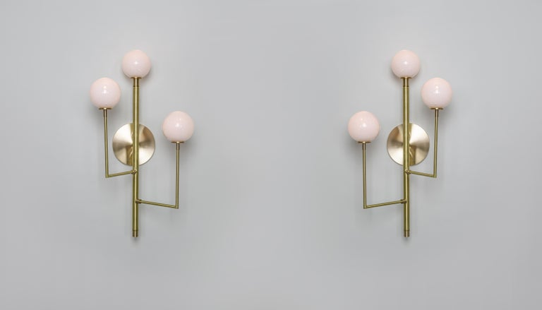 Modern Halo Sconce 3, Brass, Hand Blown Glass Contemporary Wall Sconce, Kalin Asenov For Sale