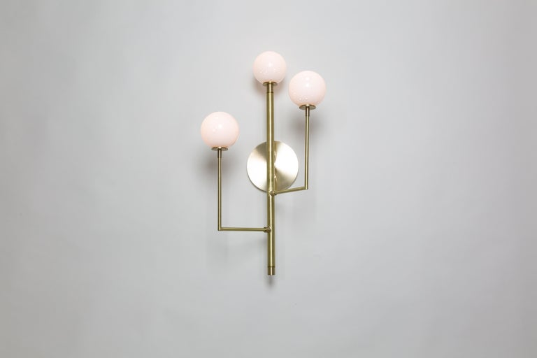 American Halo Sconce 3, Brass, Hand Blown Glass Contemporary Wall Sconce, Kalin Asenov For Sale