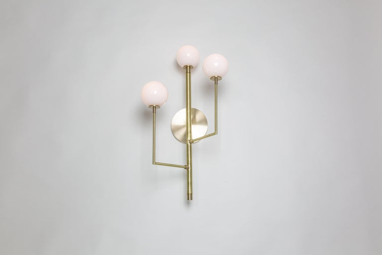 Halo Sconce 3, Brass, Hand Blown Glass Contemporary Wall Sconce, Kalin Asenov In New Condition For Sale In Savannah, GA