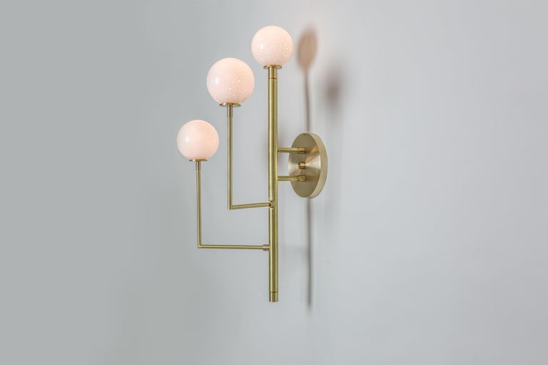Halo Sconce 3, Brass, Hand Blown Glass Contemporary Wall Sconce, Kalin Asenov For Sale 2