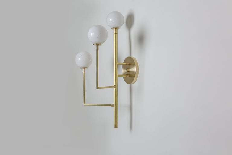 Halo Sconce 3, Brass, Hand Blown Glass Contemporary Wall Sconce, Kalin Asenov For Sale 3