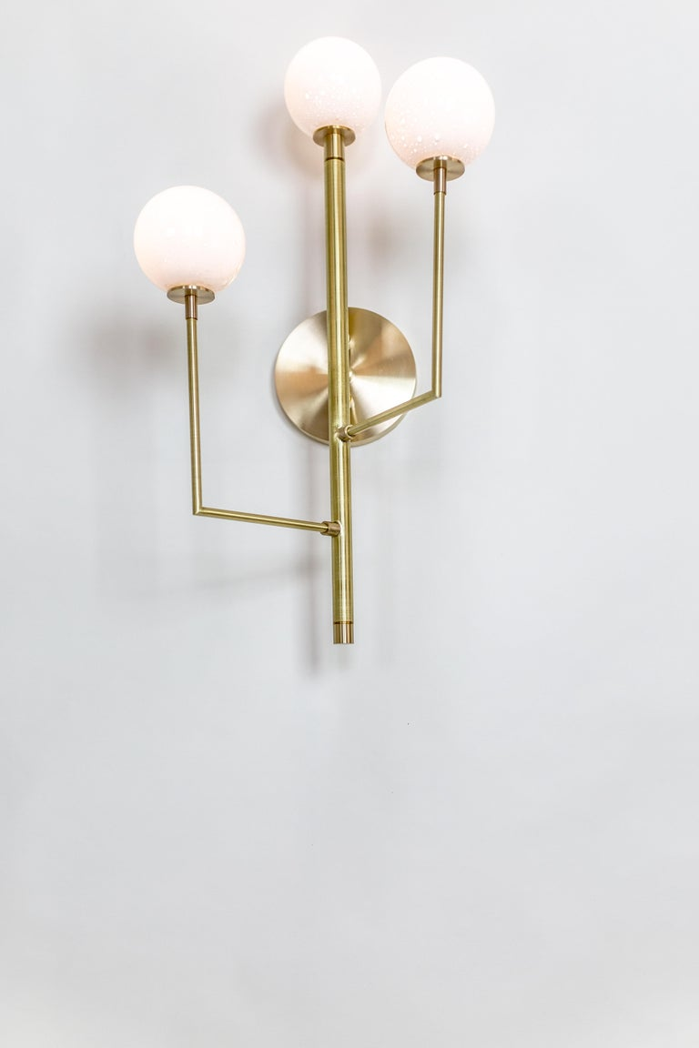 Halo Sconce 3, Brass, Hand Blown Glass Contemporary Wall Sconce, Kalin Asenov For Sale 4
