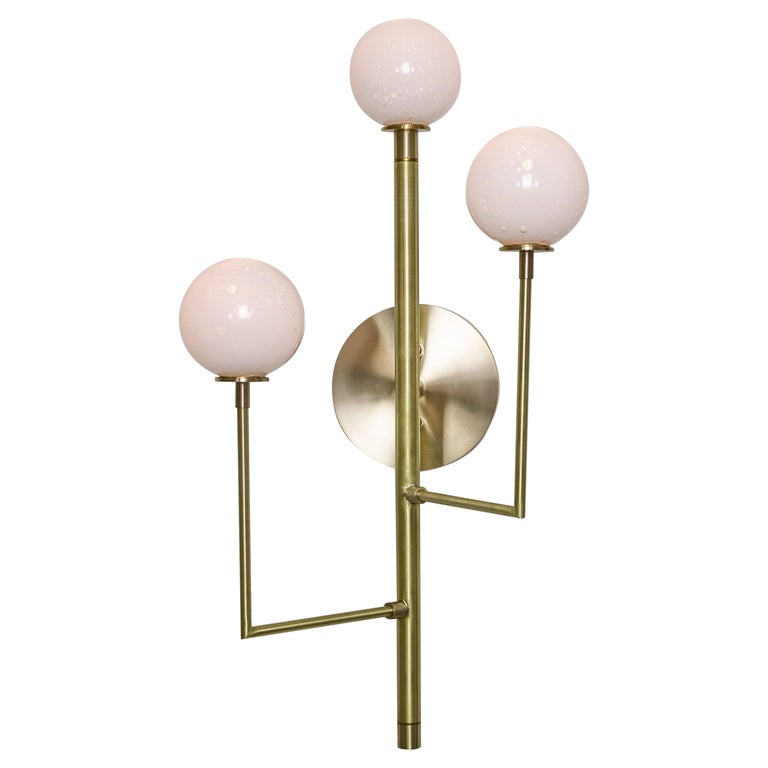 Halo Sconce 3, Brass, Hand Blown Glass Contemporary Wall Sconce, Kalin Asenov For Sale