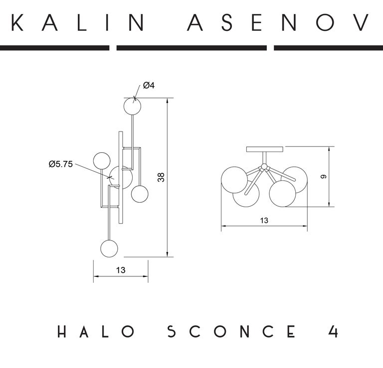 Halo Sconce 4, Brass, Hand Blown Glass Contemporary Wall Sconce, Kalin Asenov For Sale 9