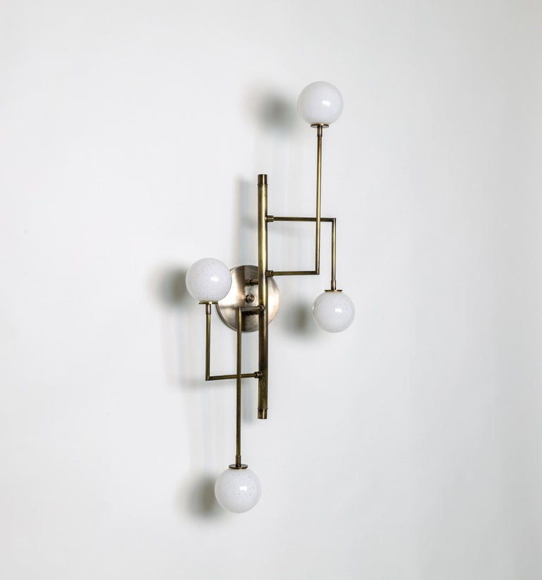 American Halo Sconce 4, Brass, Hand Blown Glass Contemporary Wall Sconce, Kalin Asenov For Sale