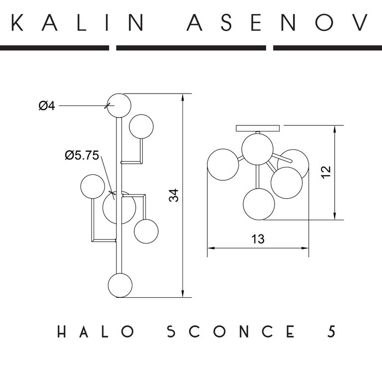 Halo Sconce 5, Brass, Hand Blown Glass Contemporary Wall Sconce, Kalin Asenov For Sale 7