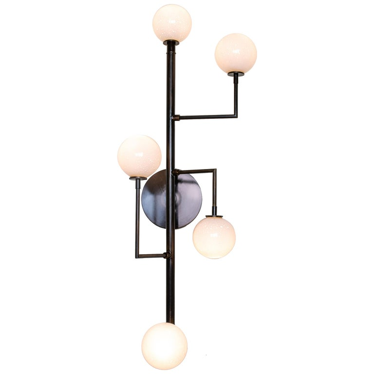 Halo Sconce 5, Brass, Hand Blown Glass Contemporary Wall Sconce, Kalin Asenov For Sale
