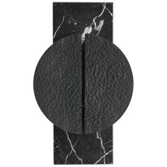 HALO SCONCE - Modern Hand-Forged Sconce on a Nero Marquina Marble Back Plate