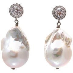 Halo stud and Large Lustrous 18mm Cultured Baroque Pearl Drop Earrings