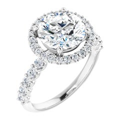 Halo Style Diamond Accented Shared Prong Round GIA Certified Engagement Ring