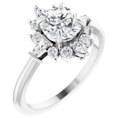 Halo Style Diamond Accented Three-Stone GIA Certified Wedding Engagement Ring