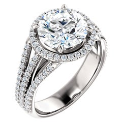 Halo Style Multi-Row Diamond Accented Round GIA Certified Engagement Ring