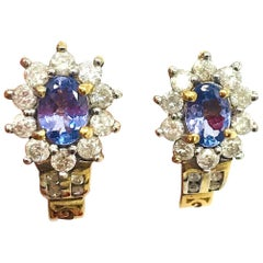 Halo Tanzanite-Diamond, Huggy 2.15 Carat Earrings, 14 Karat