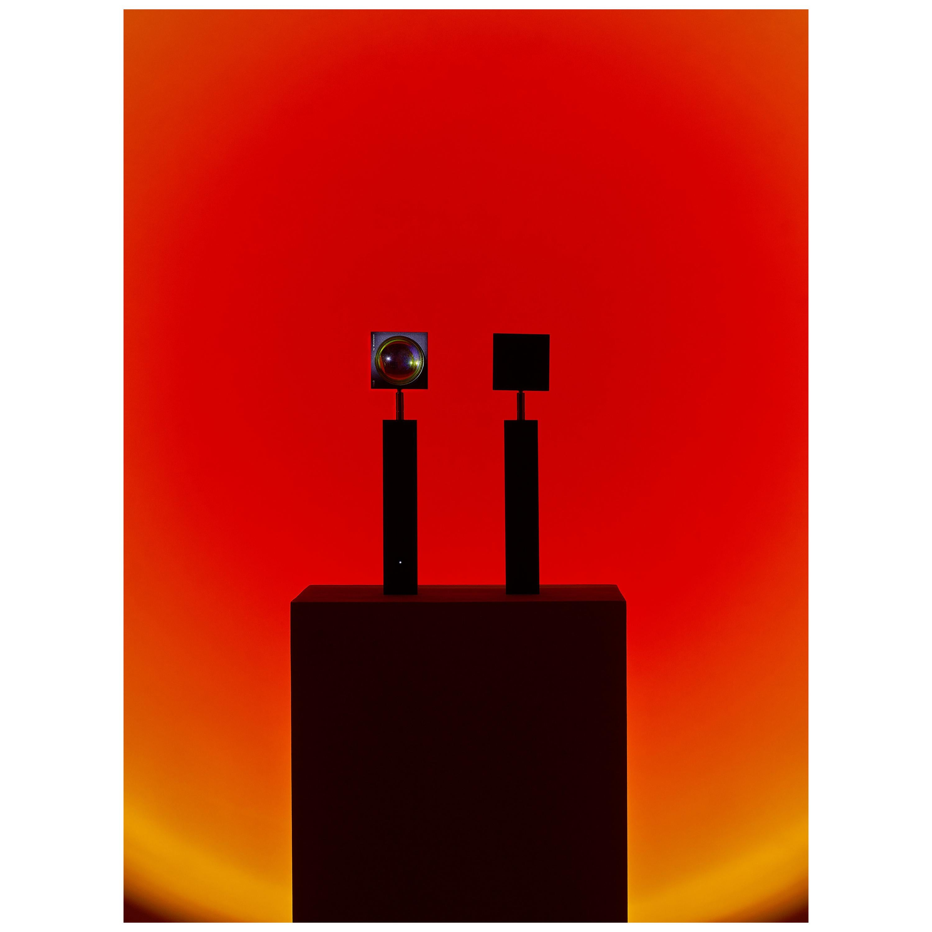 'Halo Up' Sunset Red Floor Lamp or Color Projector by Mandalaki Studio