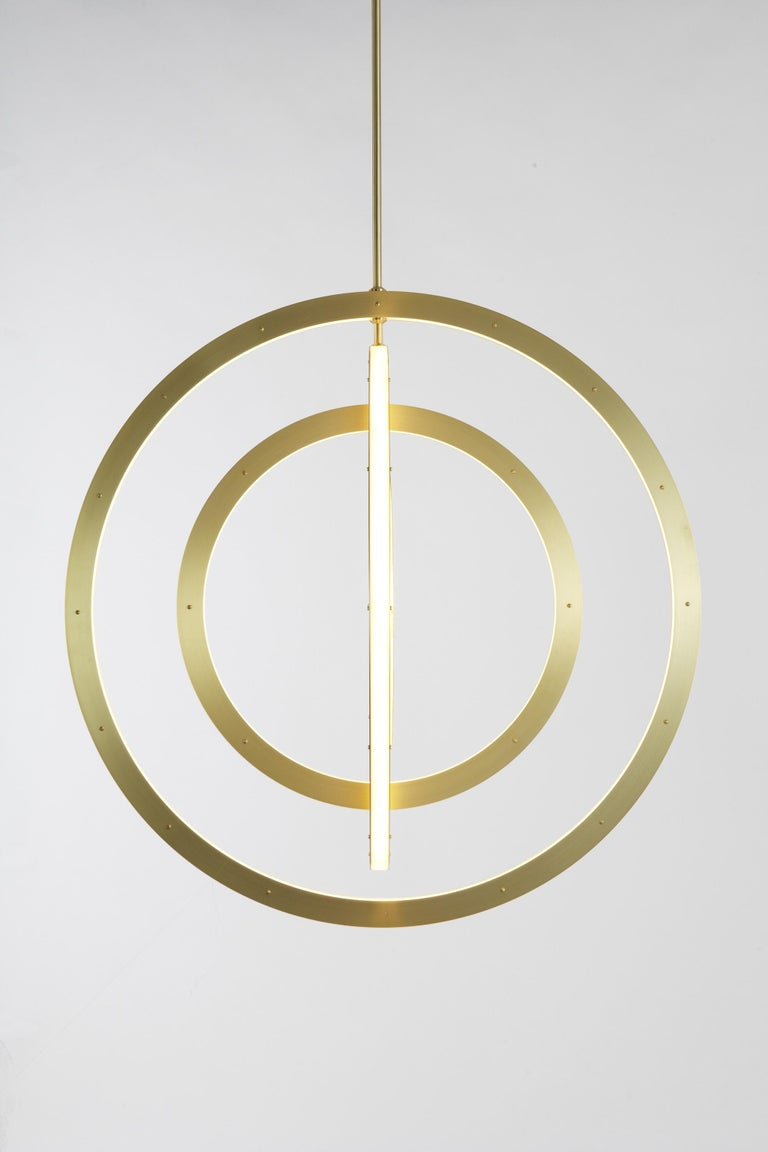 Paul Loebach envisioned the Halo series as a graceful exercise in the use of energy-efficient LED technology. The collection, which includes a range of ceiling and wall lights, is distinguished by its use of cascading rings and bars of