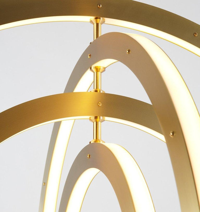 American Halo Vertical Chandelier in Brass by Paul Loebach for Roll & Hill For Sale