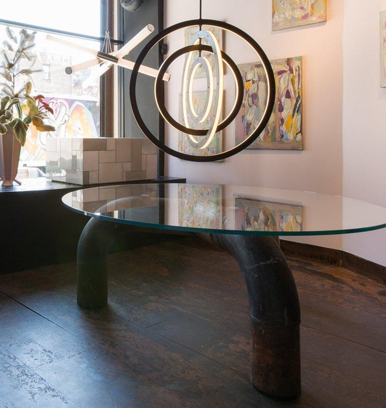 Halo Vertical Chandelier in Bronze by Paul Loebach for Roll & Hill In New Condition For Sale In Los Angeles, CA
