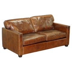 Halo Viscount William Aged Brown Leather Studded Sofa Lovely Comfortable Find