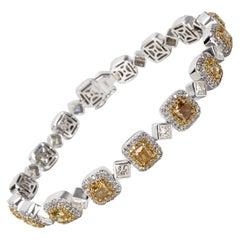 Halo White and Yellow Diamond Bracelet in 18 Karat White Gold 7.92 Carat