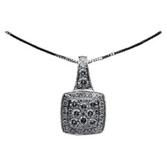 Halo White Gold 1.00 Carat Round Diamond Cluster Necklace
