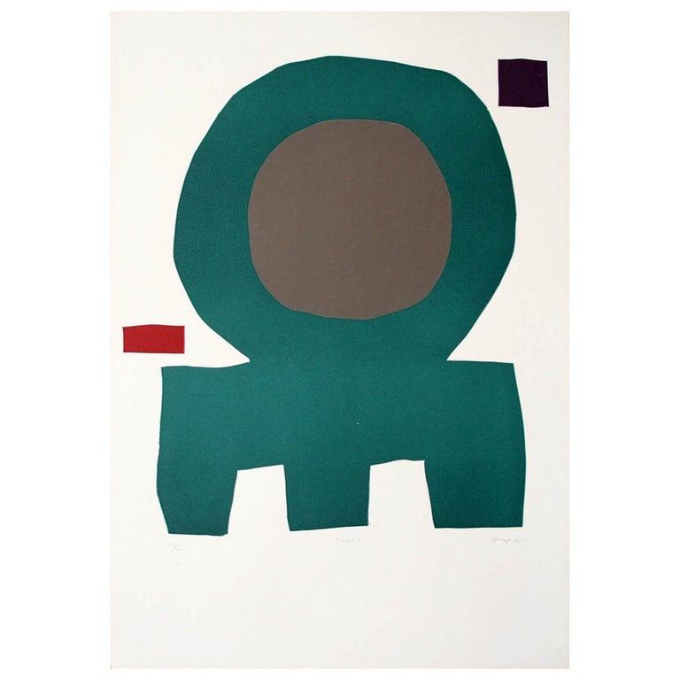 """HALOC"" Original Bauhaus Artist Linocut Print, Signed Werner Graeff  For Sale"