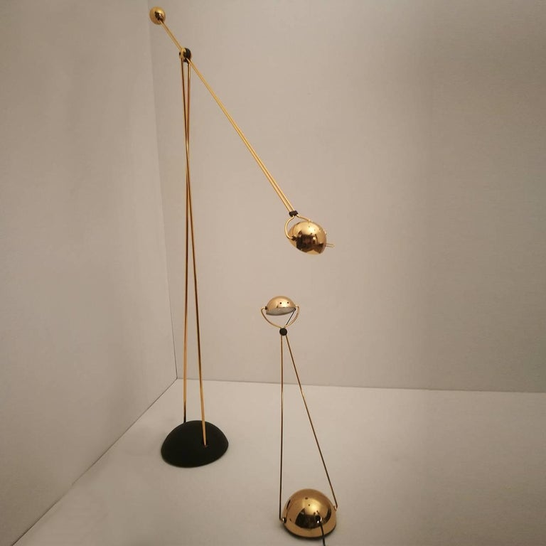 Halogen Floor and Table Lamp from Stephano Cevoli Gold-Plated, 1980s, Italy For Sale 4