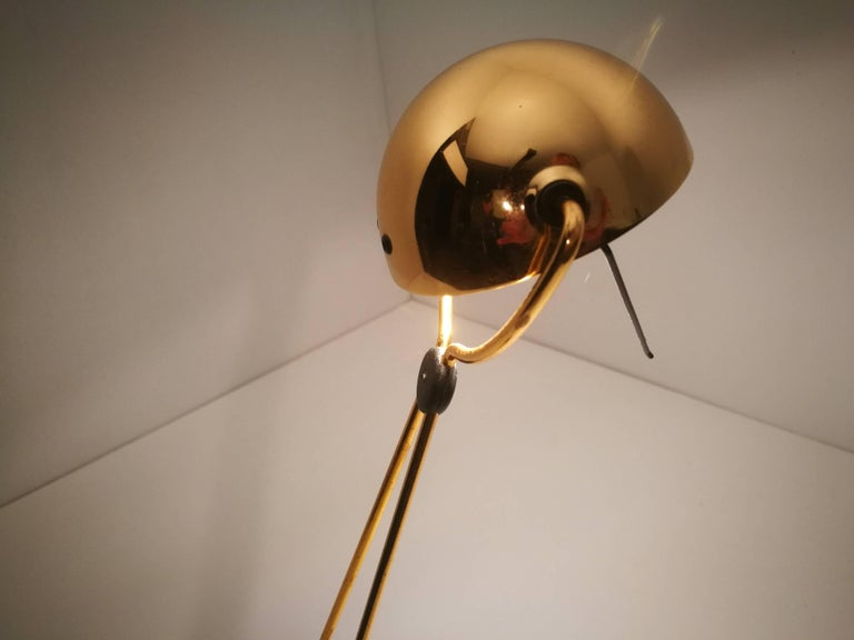 Modern Halogen Floor and Table Lamp from Stephano Cevoli Gold-Plated, 1980s, Italy For Sale