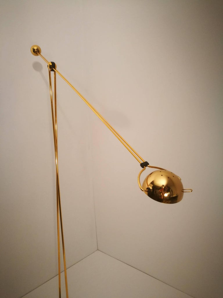 Halogen Floor and Table Lamp from Stephano Cevoli Gold-Plated, 1980s, Italy For Sale 1