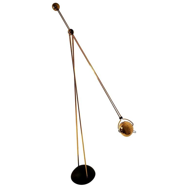 "Halogen Floor Lamp ""Yuki"" from Stephano Cevoli Gold-Plated, 1980s For Sale"