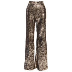 HALPERN gold brown leopard spot sequins embellished wide leg flared pants Fr34