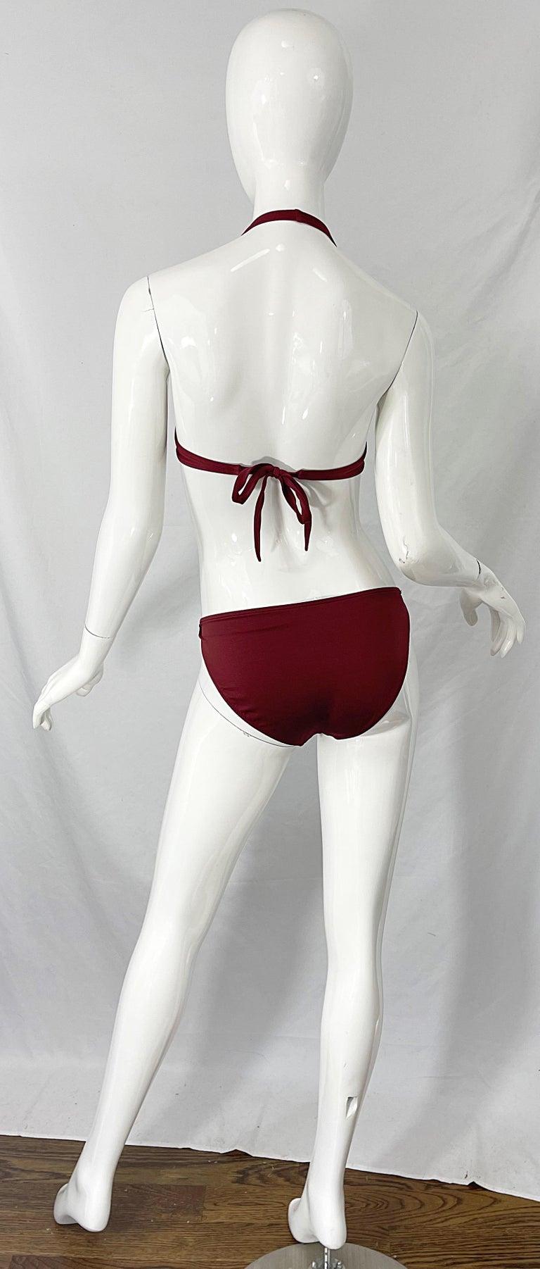 Halston 1970s Brown Rust H Logo Buckles Two Piece Vintage 70s Bikini Swimsuit For Sale 8