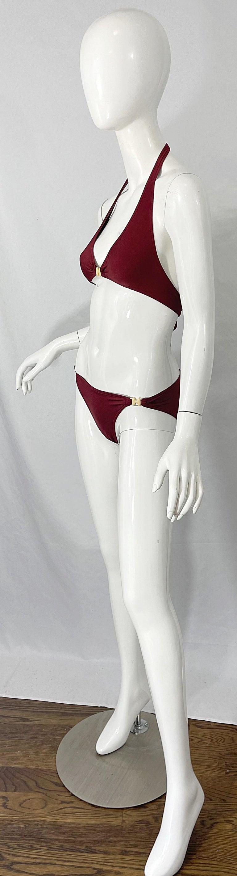 Women's Halston 1970s Brown Rust H Logo Buckles Two Piece Vintage 70s Bikini Swimsuit For Sale