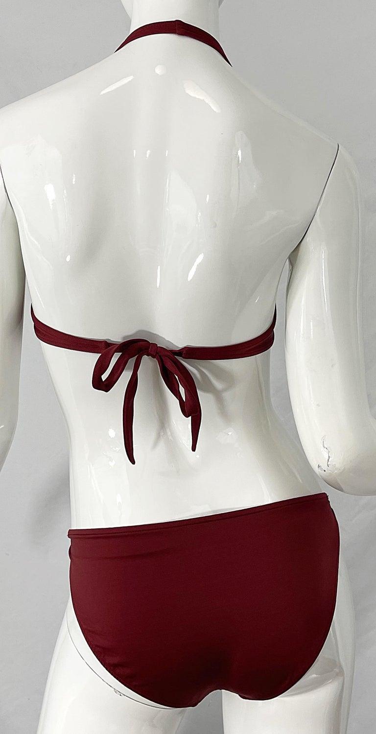 Halston 1970s Brown Rust H Logo Buckles Two Piece Vintage 70s Bikini Swimsuit For Sale 1