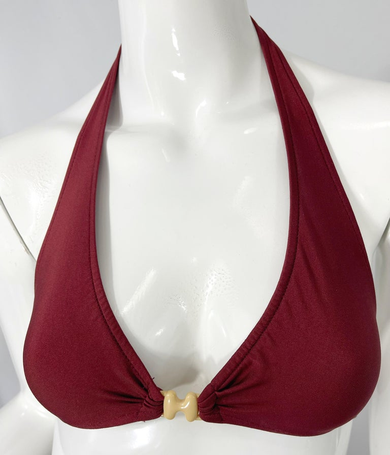 Halston 1970s Brown Rust H Logo Buckles Two Piece Vintage 70s Bikini Swimsuit For Sale 2