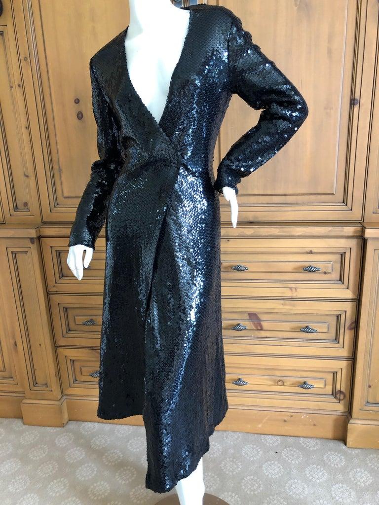 Halston 1970's Disco Era Low Cut Sequin Little Black Wrap Style Dress For Sale 6
