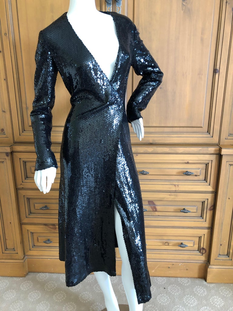 Halston 1970's Disco Era Low Cut Sequin Little Black Wrap Style Dress For Sale 7