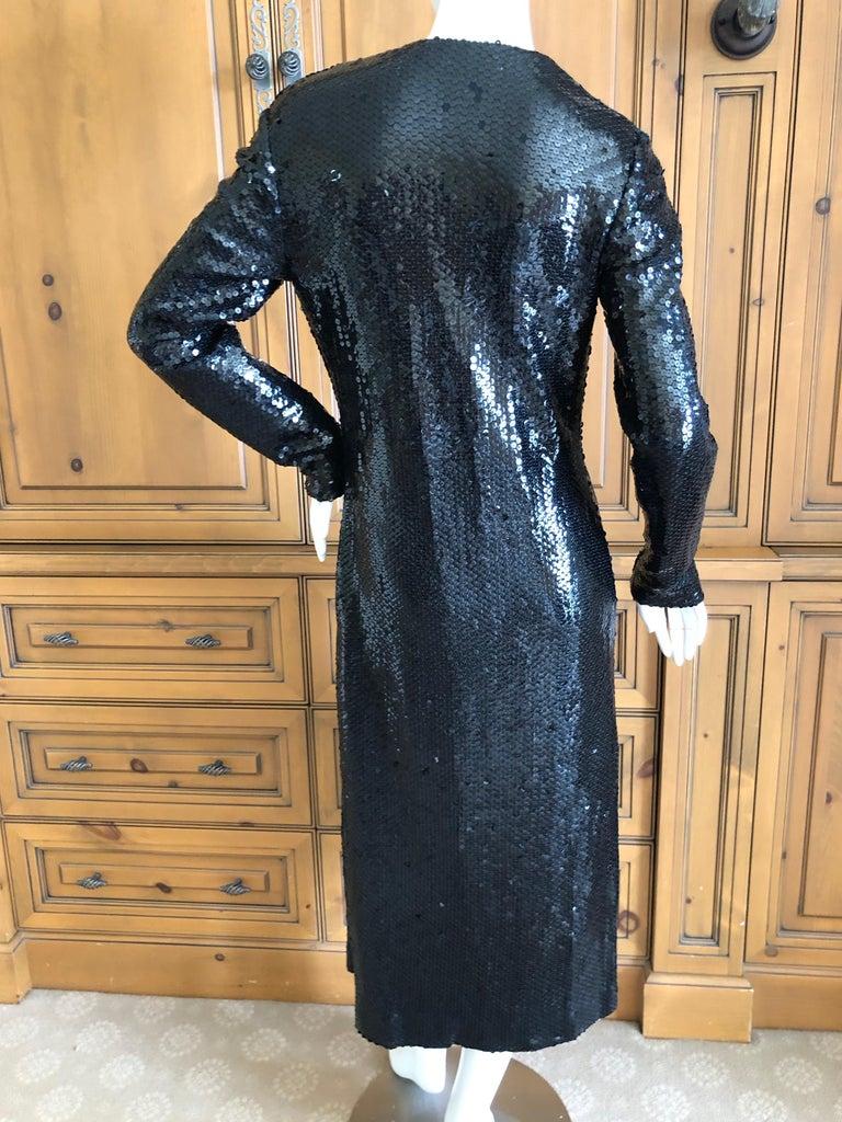 Halston 1970's Disco Era Low Cut Sequin Little Black Wrap Style Dress For Sale 8