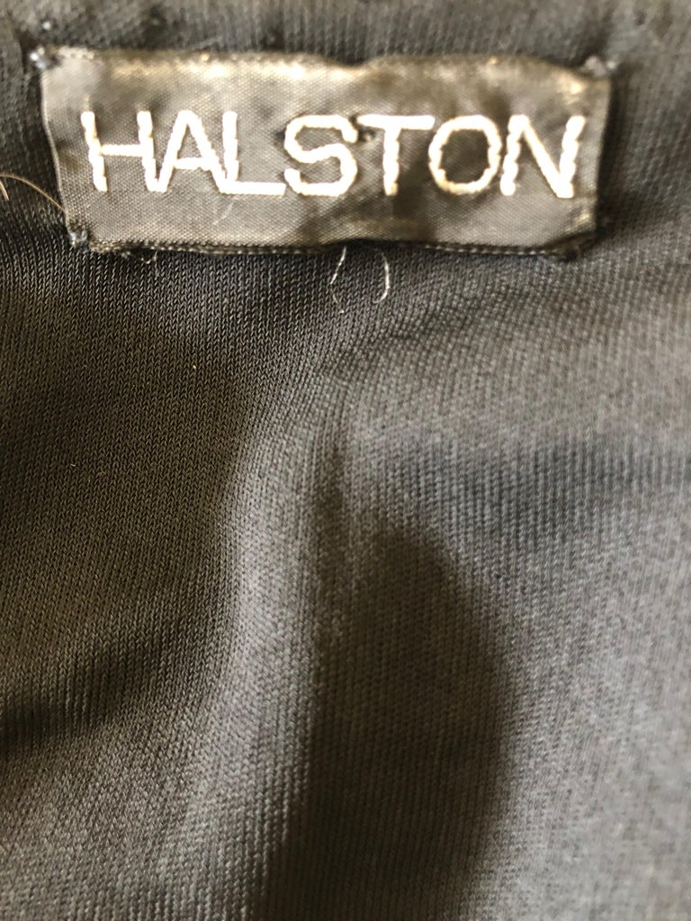 Halston 1970's Disco Era Low Cut Sequin Little Black Wrap Style Dress For Sale 9