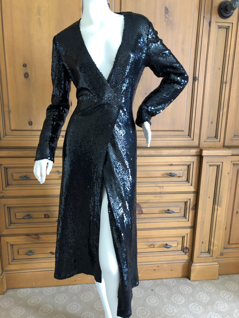 Halston 1970's Disco Era Low Cut Sequin Little Black Wrap Style Dress In Excellent Condition For Sale In San Francisco, CA