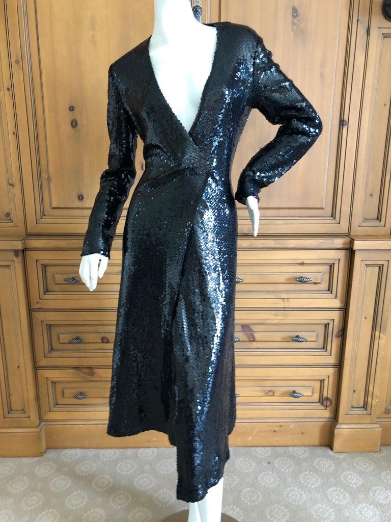 Women's Halston 1970's Disco Era Low Cut Sequin Little Black Wrap Style Dress For Sale