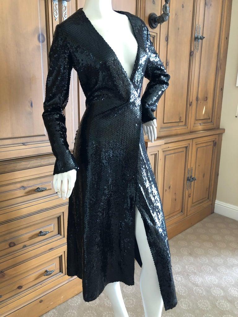 Halston 1970's Disco Era Low Cut Sequin Little Black Wrap Style Dress For Sale 1