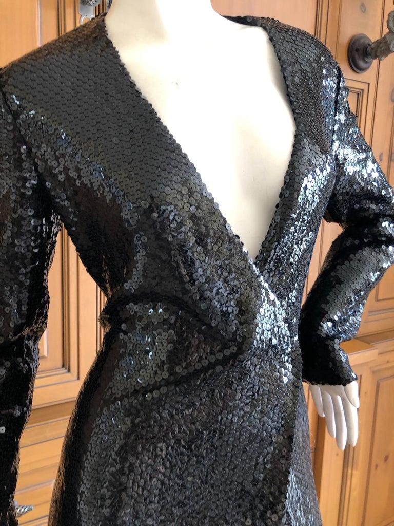 Halston 1970's Disco Era Low Cut Sequin Little Black Wrap Style Dress For Sale 2