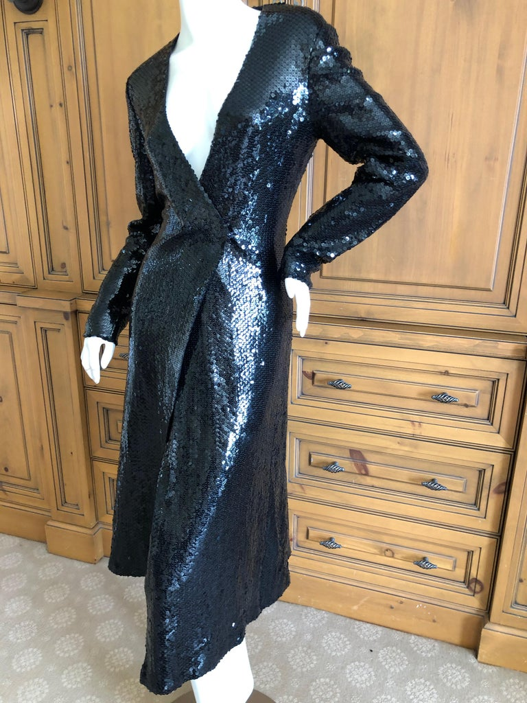 Halston 1970 S Disco Era Low Cut Sequin Little Black Wrap