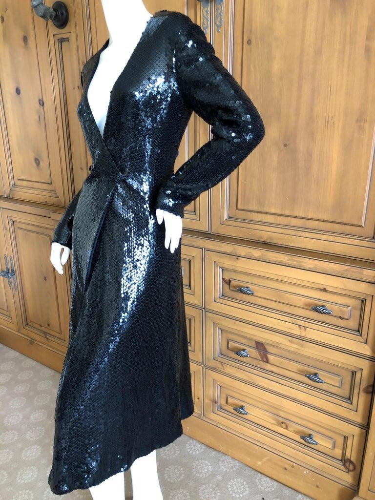 Halston 1970's Disco Era Low Cut Sequin Little Black Wrap Style Dress For Sale 5