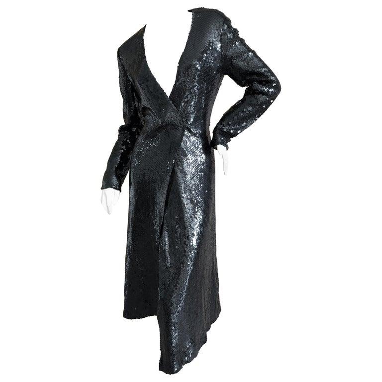Halston 1970's Disco Era Low Cut Sequin Little Black Wrap Style Dress For Sale