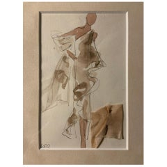 Halston 1970's Evening Gown Fashion Illustration by Joe Eula with Fabric Swatch