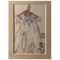 Halston 1970's Jumpsuit Fashion Illustration by Joe Eula with Fabric Swatch