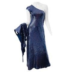 Halston 1970s Navy Blue Sequin One Shoulder Silk Jersey Vintage 70s Gown + Shawl