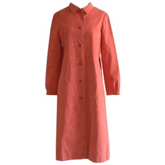 Halston 1970s Orange Pink Ultrasuede Button Up Coat or Coat Dress